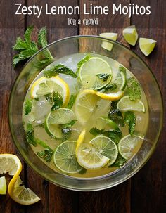 Karen's Zesty Lemon Lime Mojitos Zesty Lemon Lime Mojitos for a crowd – make-ahead party mojitos with a little punch of ginger and lemon. Holiday Drinks, Summer Drinks, Fun Drinks, Beverages, Drinks Alcohol, Party Drinks, Alcoholic Drinks, Refreshing Cocktails, Cocktail Drinks