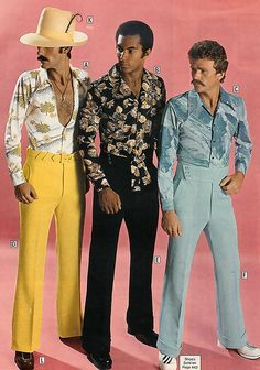 70's I remain baffled as to how an era that produced such fantastic women's fashions & couture, produced the most horrific men's fashions. Like, did women really find these men attractive? Even my mom denies the 70's ever happened (when it comes to men's fashion) LMAO!!!