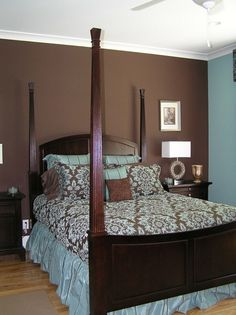 Blue and Brown Bedroom Walls | Brown and blue bedroom, walls different colors | For the Home