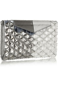 Fendi | Evening embellished metallic textured-leather clutch | NET-A-PORTER.COM