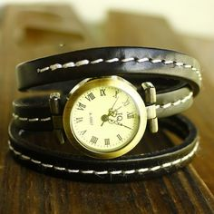 Ancient Rome Three Laps Winding Thin Leather Bracelet Watch Black DC20TB $20.00