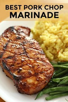 The Best Pork Chop Marinade For Grilling Six Sisters' Stuff. This Is Hands-Down The Best Pork Chop Marinade Out There Grilled Pork Chops Always Turn Out Juicy With This Recipe That Uses Ingredients You Probably Have In Your Pantry Right Now. Easy Pork Chop Recipes, Pork Rib Recipes, Pork Marinade Recipes, Best Pork Chop Recipe, Grilling Recipes, Recipes With Pork Chops, Healthy Recipes, Best Pork Chop Marinade, Pork Chip Marinade