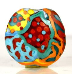 Focal Bead in Red, Orange, Turquoise and Yellow  - Handmade Lampwork Beads  - Encased Artisan Lampwork Beads. $45.00, via Etsy.