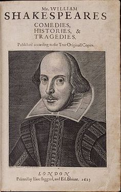 William Shakespeare.  The Droeshout portrait of William Shakespeare as it appears on the title page of the first folio.  Artist Martin Droeshout, 1623