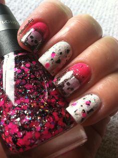 Punk rock girl nails stamped w/ skulls