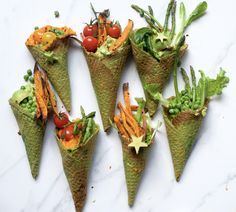 savoury kale waffle cones with vegetables