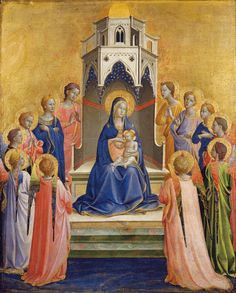 ANGELICO, FRA Vicchio di Mugello, Florencia, 1395 – Roma Madonna and Child Enthroned with twelve Angels 1420-1430. Mixed technique on wood. 37,5 x 29,7 cm. Städel Museum, Frankfurt. 838.