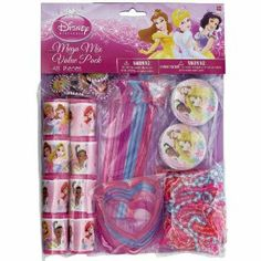 Disney Princess Favor Packs by AMSCAN *. $10.27. Party Supplies. Kids' Party Supplies. Disney Princess Mega Mix Value Pack with 48 pieces. This pack includes 8 Puzzle Games, 8 Jeweled Hairclips, 8 Bangle Heart Bracelets, 8 Magic Wands, 8 Bead Necklaces, and 8 Mini Kaleidoscopes! Enough to fill 8 bags with 6 items!