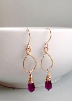 Amethyst crystal earrings – Christmas gifts for her – Colourful earrings – Swarovski briolette earrings – Gold hoops – Purple crystals by Mishalijewellery on Etsy