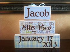 Personalized Baby Gift - Wood Baby Blocks stacker on Etsy, $20.00