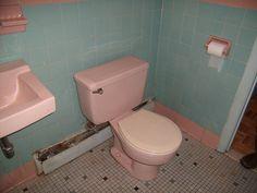 Aqua tiles and pink trim and fixtures by pagan_dar, via Flickr