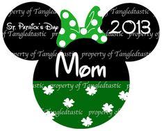 Minnie Mouse St Patricks Day U PRINT  DIY Iron Appliqué Disney Vacation Shirt Dickens ChristmasMinnie Mouse. $5.00, via Etsy.