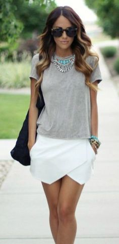 Grey tee + turquoise jewelry + white skirt. Summertime outfit
