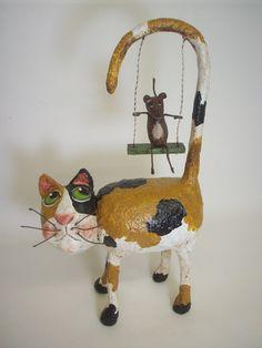 Primitive Paper Mache Calico Folk Art Cat by papiermoonprimitives