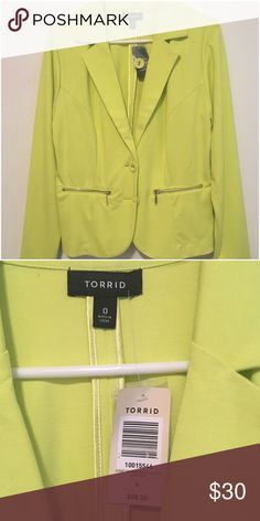 Limeade Ponte Blazer - lined NWT This is a beautiful piece. Size 0 from torrid. This can easily be casual or dress he… Great for winter and spring. It is a limeade color… Lime green torrid Jackets & Coats Blazers
