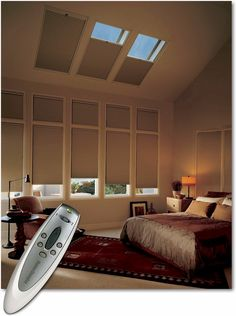 Hunter Douglas PowerRise 2.0 remote control system for skylight window applications. Now you can easily raise and lower your hard-to-reach skylight shades at the touch of a button.