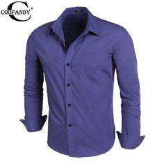 COOFANDY  British Style Slim Long Sleeve Shirt