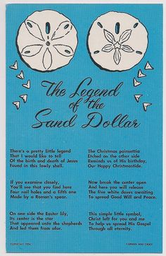 """Legend of the Sand Dollar (I've become fond of this little shell this """"legend"""" makes it even more perfect!)"""