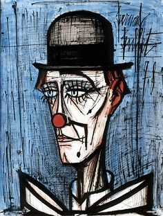 Bernard BUFFET ( 1928 - 1999 ) , Clown au chapeau melon fond bleu, 1978