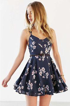 Ellady Crisscross Open Back Florals Dress