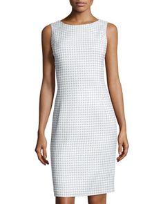Sleeveless+Tweed+Sheath+Dress,+Blue/White+by+Oscar+de+la+Renta+at+Neiman+Marcus+Last+Call.