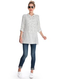 Polka Dot Button Down Maternity Blouse | Seraphine We love this gorgeous polka dot maternity blouse - perfect for pregnancy at the office or for off duty style