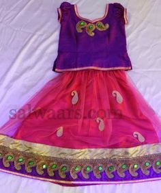 Indian Dresses: Pink and Purple Simple Kids Skirt