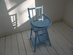 Vintage Combelle high chair rustic blue painted beech childs baby feeding tray  | eBay