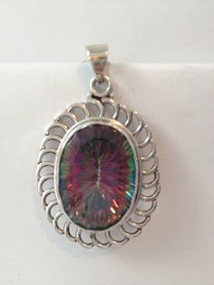 Mystic topaz silver pendant hand made jewellery 925 sterling bobin boutique new