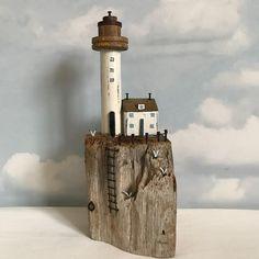 "Shabby Daisies (@lorainespick) on Instagram: ""Lighthouse Rock, Lighthouse is a vintage bobbin. #shabbydaisies #shabbychic #driftwood…"""