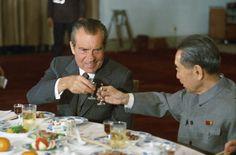 President Nixon toasts with Premier Zhou Enlai in China. 1972. via reddit