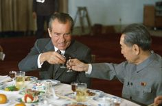 President Nixon toasts with Premier Zhou Enlai in China. 1972. via reddit