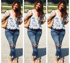 Our goddess, Alicia wearing out Blue Floral Ladder Back Top !   come shop: www.aliciadimichele.com