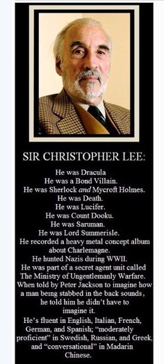 Christopher Lee famous actor also served our country in the military