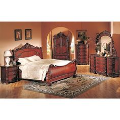 Best Master 4 Pc Cherry Finish Wood Queen Sleigh Bed Set With Ornate Carvings Furniture