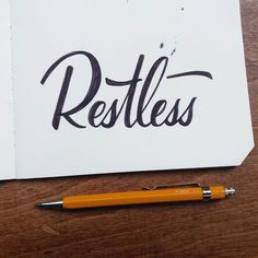 Restless - Celebrate the effort not just the outcome. Getting caught up in that perfect outcome is always so so easy. Taking steps back to enjoy the the process is incredibly hard but something I think should be revelled in - #thedailytype #thedesigntip #handmadefont #sketchbook #sketch #type #handtype #letteringco #script #creative #goodtype #logotype #lettering #brushtype #tyxca #calligritype #calligraphy #decorative #handlettering #moleskine #casual #explore #script #vintagetype…