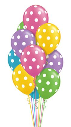 Pastel Polka Dots Just For Fun Balloon Bouquet Balloons) Polka Dot Balloons, Latex Balloons, Polka Dots, Birthday Clips, Art Birthday, Birthday Balloons, Birthday Greetings, Birthday Wishes, Birthday Parties