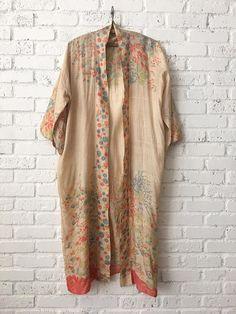 1920s Japanese Pongee Kimono 20s Tissue Silk Floral Robe