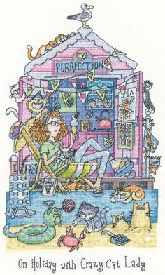 On Holiday with Crazy Cat Lady - Heritage Crafts cross stitch kit