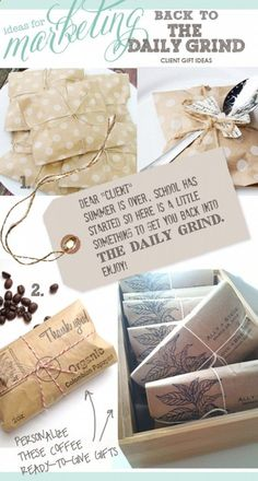 marketing ideas, client gift ideas, coffee gifts