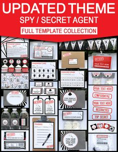 Secret Agent Birthday Party Invitations and Decorations | Spy Party Ideas | Spy Theme Party Printables | James Bond | Secret Codes & Ciphers | Editable templates | INSTANT DOWNLOAD $12.50 via SIMONEmadeit.com