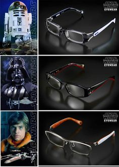 """""""Star Wars Eyewear""""? A set of glasses in tribute to the Star Wars saga, available in five models: Darth Vader, Luke Skywalker, R2D2, Stormtrooper and Boba Fett! Far from being simple Star Wars gadgets, these glasses seem to have been designed in every detail, each frame is really beautiful and each model has its own case. But it will cost you $ 500 for each glasses!"""