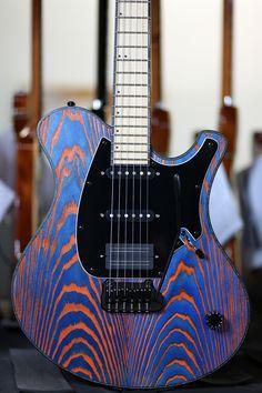 Orange/blue custom guitar
