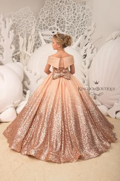 Blush Flower Girl Dress with Sparkling Sequins – Birthday Wedding Party Holiday Bridesmaid Flower Girl Blush Dress – Ideas Flowers Girls Pageant Dresses, Gowns For Girls, Little Girl Dresses, Prom Dresses, Blush Flower Girl Dresses, Blush Dresses, Bridesmaid Dresses, Lace Flower Girls, Kids Gown