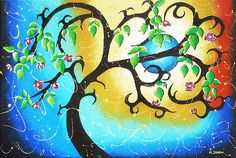 Whimsical Tree Art Blue Moon Painting Huge Painting - Helen Janow Miqueo