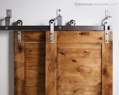 Standard Bypass Barn Door Hardware System - http://RusticaHardware.com/ Great for hall way closets.