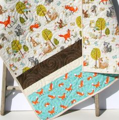 Forest Quilt, Woodland Animals, Boy or Girl, Baby Toddler Bed Blanket Brown Modern Nursery