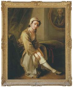 Philip Mercier (c.1689-1760) A young woman, in a fawn dress, seated on a chaise longue in an interior, removing her right stocking, an oval portrait of a gentleman, traditionally identified as the 'Young Pretender', on the wall beyond signed with initial 'M.' (lower right) and with inscription 'Mercier' in an 18th Century hand on an old label attached to the stretcher oil on canvas 50 x 40 in. (127 x 101.5 cm.) in the original carved, gilded and pierced frame
