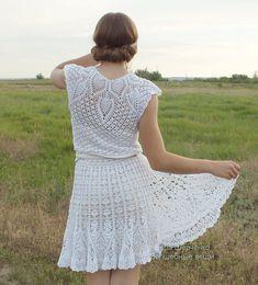 """Vestido de punto """"Natalie"""" (Vestido de las mujeres, vestido de punto, vestido crochet, vestido blanco, tejiendo a mano, vestido de boda hecho a mano, punto)"""