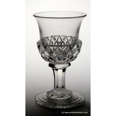 A fine example of glas cutters workmanship, this glass has a thistle bowl with cross cut diamonds and a notch and star cut foot. Port Wine Glasses, French Wine, Wines, Diamond Cuts, Chips, Band, Crystals, Sash, Potato Chip